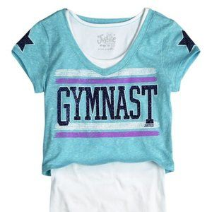 Justice Gymnast Teal Crop Top